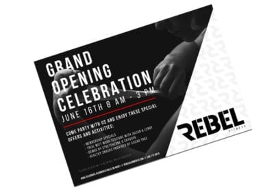 postcard design | Rebel Fitness | the midnight oil group